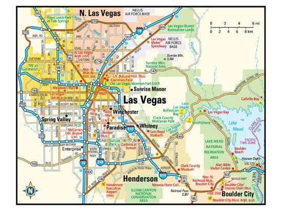 Las Vegas Nevada Area Map Premium Giclee Print by | Art.com