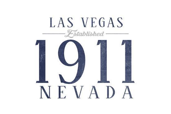 Las Vegas, Nevada - Established Date (Blue)-Lantern Press-Art Print