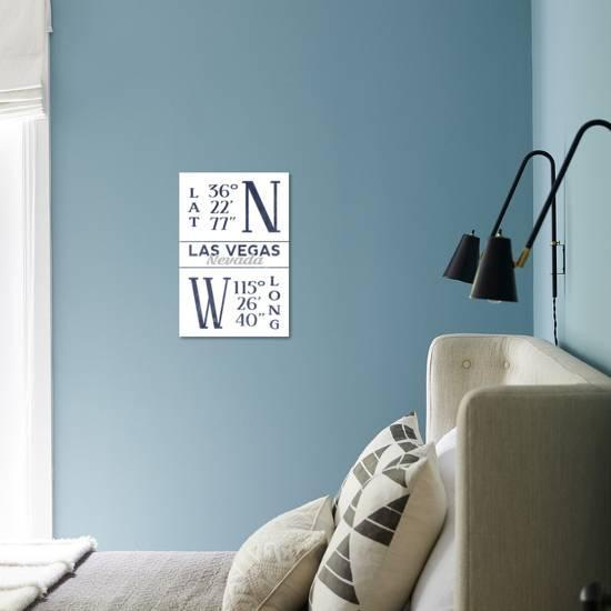 las vegas nevada latitude and longitude blue art print lantern press art com art com