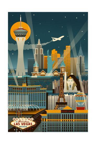 Las Vegas, Nevada - Retro Skyline (no text)-Lantern Press-Art Print