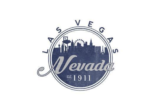 Las Vegas, Nevada - Skyline Seal (Blue)-Lantern Press-Art Print