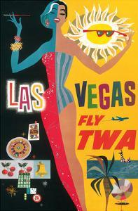 Las Vegas, Nevada - Trans World Airlines Fly TWA, 1958