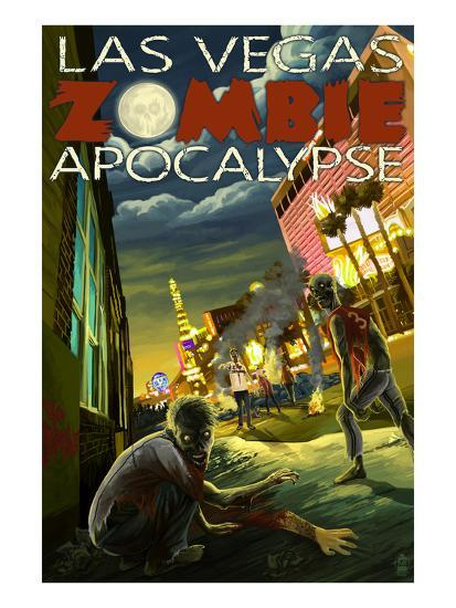 Las Vegas, Nevada - Zombie Apocolypse-Lantern Press-Art Print