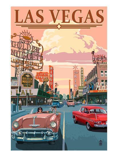 Las Vegas Old Strip Scene-Lantern Press-Art Print