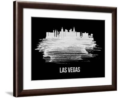 Las Vegas Skyline Brush Stroke - White-NaxArt-Framed Art Print