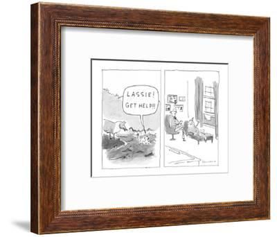 """Lassie! Get help!"" - New Yorker Cartoon-Danny Shanahan-Framed Premium Giclee Print"
