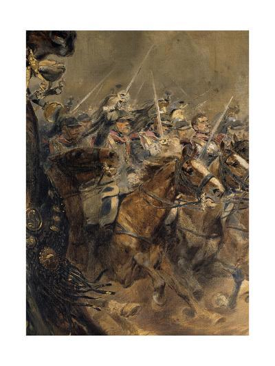 Last Charge of the General Lassalle, Battle of Wagram, July 6, 1809, Detail-Edouard Detaille-Giclee Print