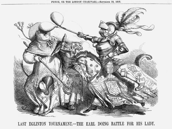 Last Eglinton Tournament. - the Earl Doing Battle for His Lady., 1858--Giclee Print