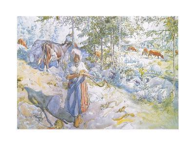 Last of All Came Little Kertsi with a Willow Twig to Drive the Cows-Carl Larsson-Giclee Print