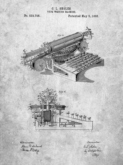 Last Sholes Typewriter Patent-Cole Borders-Art Print