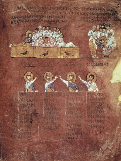 Last Supper and the Washing of Feet, Miniature from the Gospels Called Rossanensis--Giclee Print