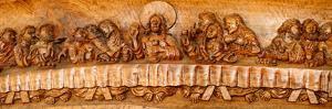 Last supper sculptures carving on wall, Vigan, Ilocos Sur, Philippines