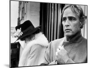 LAST TANGO IN PARIS, 1972 directed by BERNADO BERTOLUCCI Maria Schneider and Marlon Brando (b/w pho