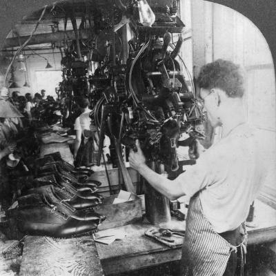 Lasting Machine Shaping Shoes in Shoe Factory, Lynn, Massachusetts, USA, Early 20th Century--Photographic Print
