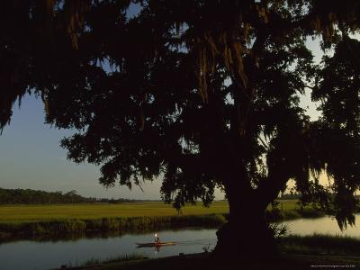 Late Afternoon Kayaker in the Marshes Along the Georgia Sea Islands-Michael Melford-Photographic Print