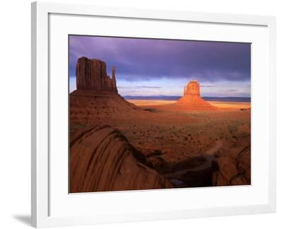 Late Afternoon Light Colors the Rock Formations, Monument Valley, Utah, USA-Janis Miglavs-Framed Photographic Print