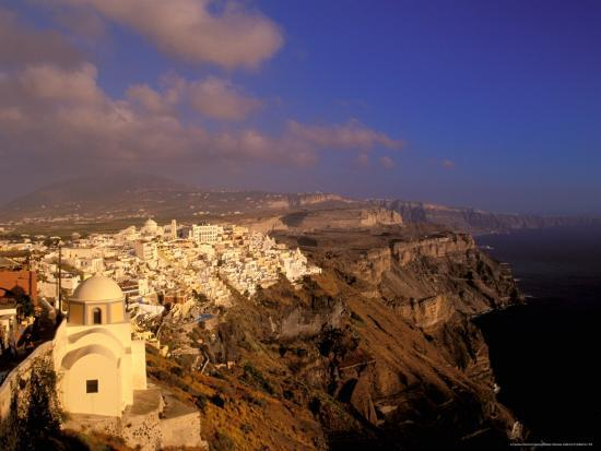 Late Afternoon View of Town, Thira, Santorini, Cyclades Islands, Greece-Walter Bibikow-Photographic Print