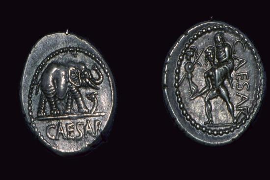 Late republican denarii of Julius Caesar, 1st century BC. Artist: Unknown-Unknown-Giclee Print
