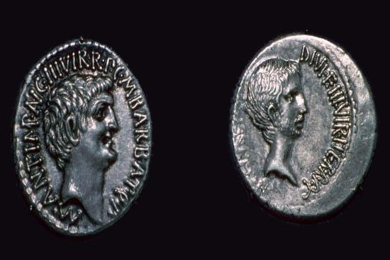 Late republican denarii with Mark Antony and Augustus Caesar, 1st century BC. Artist: Unknown-Unknown-Giclee Print
