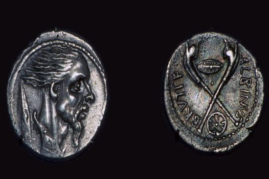 Late republican Roman coin showing the head of a Gaul, 1st century. Artist: Unknown-Unknown-Giclee Print