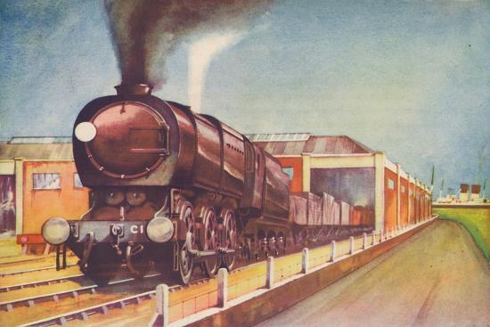 'Latest Austerity Freight Engine, S.R., at Southampton Docks', 1940-Unknown-Giclee Print