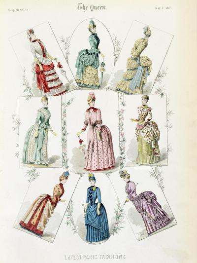 Latest Paris Fashions, Nine Day Dresses in a Fashion Plate, a Supplement to The Queen, May 1885--Giclee Print