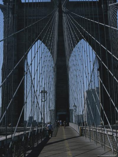 Lattice-Like Cables Rise Above Pedestrians on the Brooklyn Bridge-Todd Gipstein-Photographic Print