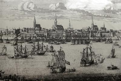 Latvia, Riga, Port, Engraving--Giclee Print