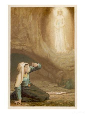 Bernadette Soubirous While Gathering Firewood Suddenly Sees the Virgin Mary in the Grotto