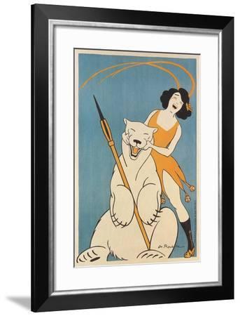 Laughing Woman and Polar Bear--Framed Art Print