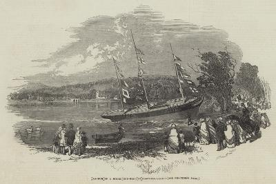 Launch of a Model Gun-Brig, in Eastwell-Park--Giclee Print