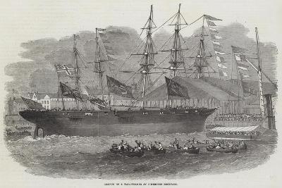 Launch of a War-Steamer at Limehouse Dockyard-Edwin Weedon-Giclee Print