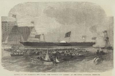 Launch of Her Majesty's New Yacht, The Victoria and Albert, at the Royal Dockyard, Pembroke-Edwin Weedon-Giclee Print