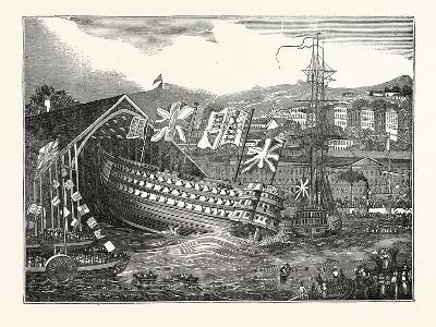 Launch of His Majesty's Ship Waterloo, at Chatham, UK--Giclee Print