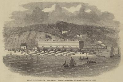 Launch of Pontoon for the Great Eastern Steam-Ship at Neyland, Milford Haven--Giclee Print