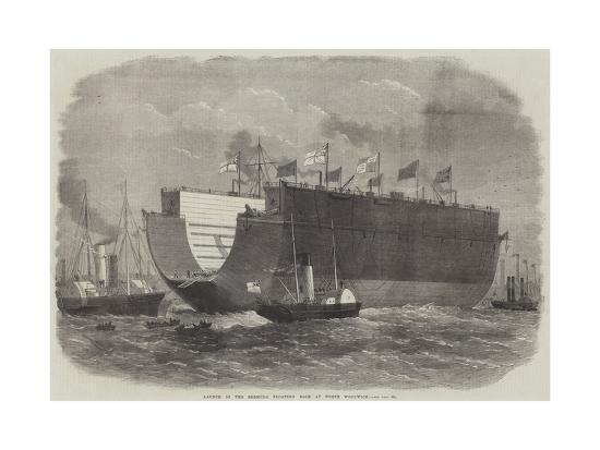 Launch of the Bermuda Floating Dock at North Woolwich-Edwin Weedon-Giclee Print