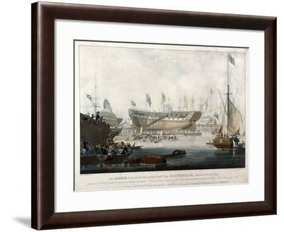 Launch of the East India Company's Ship, the 'Edinburgh' in 1825-Edward Duncan-Framed Giclee Print