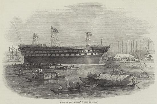 Launch of the Meanee, 80 Guns, at Bombay-Edwin Weedon-Giclee Print