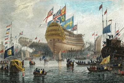 Launch of the Nelson, at Woolwich, July 4th 1814-L. Clennell-Giclee Print
