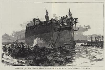 Launch of the New Armour-Plated Ship Rodney at Chatham by the Duchess of Edinburgh-William Lionel Wyllie-Giclee Print