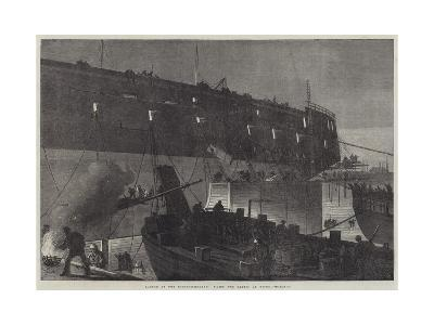 Launch of the Northumberland, Fixing the Camels at Night--Giclee Print