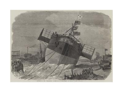 Launch of the Paramatta Steam-Ship at Blackwall on Monday Week-Edwin Weedon-Giclee Print