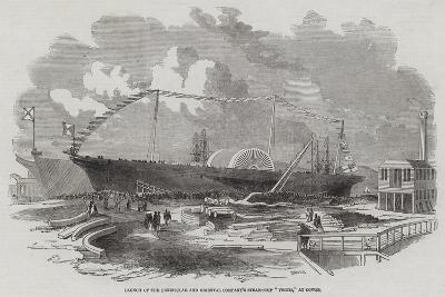 Launch of the Peninsular and Oriental Company's Steam-Ship Vectis, at Cowes--Giclee Print