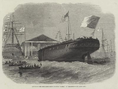 Launch of the Portuguese Screw-Corvette Sagres, at Limehouse-Edwin Weedon-Giclee Print