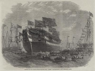 Launch of the Screw Line-Of-Battle Ship Anson at Woolwich-Edwin Weedon-Giclee Print