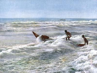 Launching a Catamaran Off the Coast of Madras, India, Early 20th Century--Giclee Print