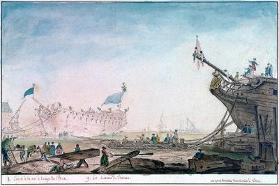Launching a Ship at Brest, C1750-1810-Nicolas Marie Ozanne-Giclee Print
