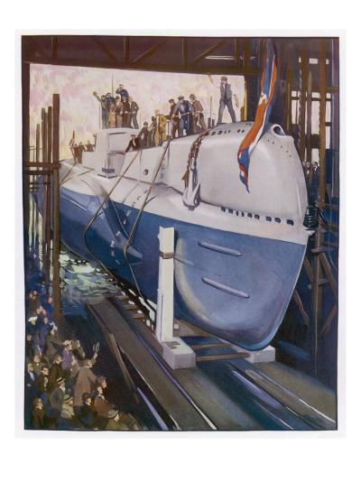 Launching a Submarine--Giclee Print