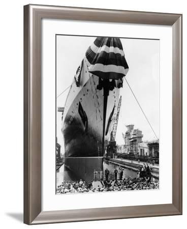 Launching of the S.S. United States- NNSB-Framed Photographic Print