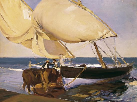 Launching the Boat-Joaqu?n Sorolla y Bastida-Art Print